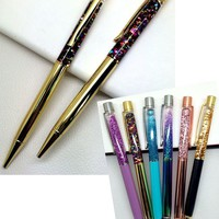 High-grade gold powder, oil crystal pen, creative elements metal , crystal gifts pens, hourglass  ball point pen, quicksand pen