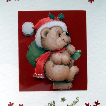 Christmas Card - Happy Christmas Hand-Crafted 3D Decoupage Card - Happy Christmas (1765)