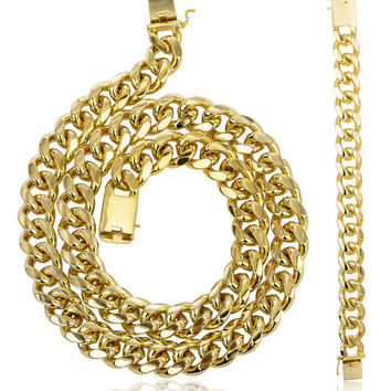 Goldtone Brass 18mm Miami Cuban Chain with Box Lock - 9 30 36 Available (9 Bracelet + 30 Necklace)