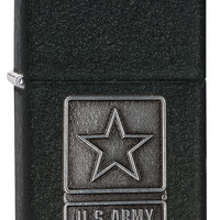 Zippo 1941 US Army Pewter Emblem black crackle Windproof Lighter