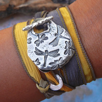 Dragonflies Silk Wrap Bracelet Jewelry