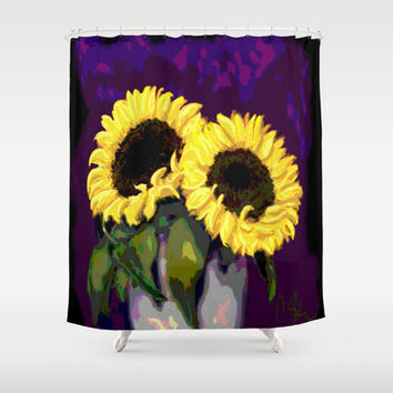 Double Sunflower Shower Curtain by CSteenArt