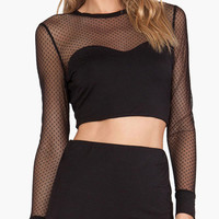 Black Semi-sheer Long Sleeve Crop Top