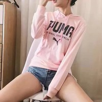 Puma Women Men Fashion Casual Letter Print Hooded Top Sweater Pullover