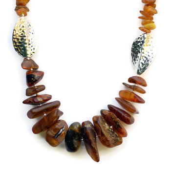 Rustic Baltic Amber Necklace/ Long Chunky Bohemian OOAK Necklace/ Natural Semiprecious Jewelry/ Handmade Unique