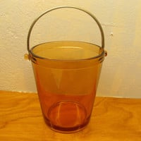 VINTAGE FOSTORIA ICE BUCKET AMBER IN COLORING