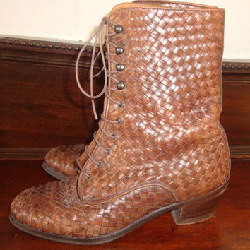 vintage J PETERMAN woven whiskey brown leather granny heels VICTORIAN boots hipster indie boho women size 8 us