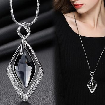 Crystal Fashionable Long Statement Necklace