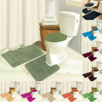 Brandy 3 Piece Bathroom Rug Set, Bath Mat, Contour, Seat Cover - 10 Colors
