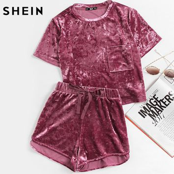 Women's Two-Piece Purple Crushed Velvet Summer Short Set.   In Sizes X-Small to Large.   ***FREE SHIPPING***