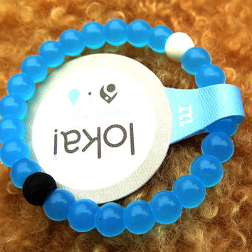 Brand New Lokai Blue Bracelet White Lokai Bracelet Beads Bangle