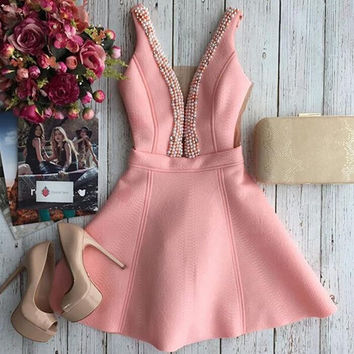 Pearl V-neck stitching dress