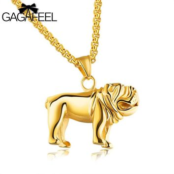 Gagafeel Happy Dog Animal Unique Pattern Necklace For Men Jewelry Hip Hop Stainless Steel Male Chain Pendant Gift Dropshipping