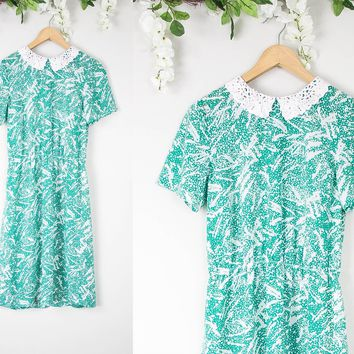 Vintage 60s Sheer Mint Floral Lace Collar Dress
