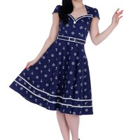 Nautical Dream Pin-up Sailor Anchor & Boatwheel Navy Blue Flare Party Dress