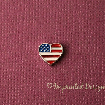 American Flag Heart Floating Charm / Locket Charm / Memory Locket Charm