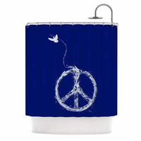 """Frederic Levy-Hadida """"Bird Sewing Peace"""" Blue White Shower Curtain"""