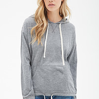 Heathered Double-Drawstring Hoodie