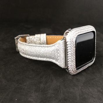 Apple Watch Leather Band 38mm/40mm 42mm/44mm Silver Sparkle Slim Skinny Womens Series 1 2 3 4/Iced Out Bezel Case Cover Lab Diamonds Iwatch