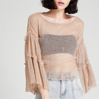 Kate Shine Wide Sleeves Mesh Top Discover the latest fashion trends online at storets.com