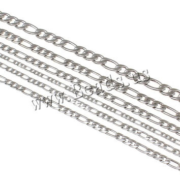 6 Size Punk Rock Men Women Silver Tone Figaro Chain Stainless Steel Necklace Jewelry Accessories Long Link Sweaterchain Necklace