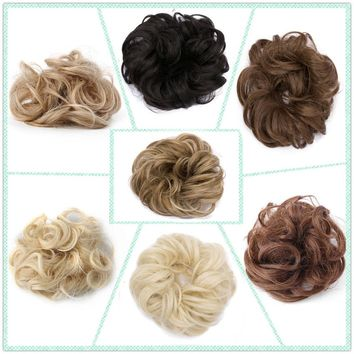 US Real Natural Curly Messy Bun Hair Piece Scrunchie Hair Extensions as Human FD