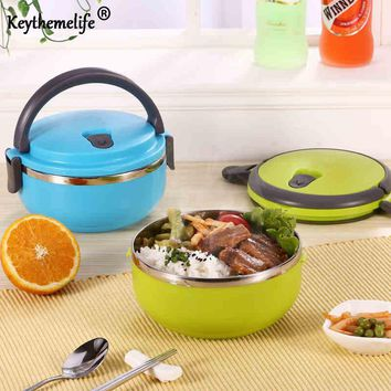 Keythemelife Portable Lunch Box Stainless Steel Thermos Bento for Kids Food Container Round Shape Picnic Food BF