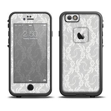 The White Floral Lace Skin Set for the Apple iPhone 6 LifeProof Fre Case