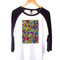 Keith Haring Pop Short Sleeve Raglan - White Red - White Blue - White Black XS, S, M, L, XL, AND 2XL*AD*