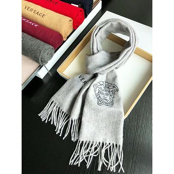Versace Autumn And Winter New Fashion Human Head Tassel Keep Warm Scarf Women Gray