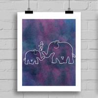 Watercolor Elephant Print, Elephant Wall Art, Watercolor Prints, Elephant Decorations, Hippie Decor, JPG.PDF (8x10 Inches)