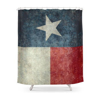 Society6 Texas State Flag, Vertical Retro Vintage Version Shower Curtains