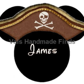 Pirates Hat Mickey Mouse Head Disney World Personalized w/ Name/Date Printable Iron On Transfer DIY Instant Download