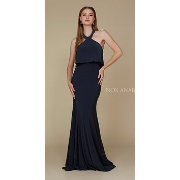 Halter Ruffled Long Prom Dress Open Back with Train Ink