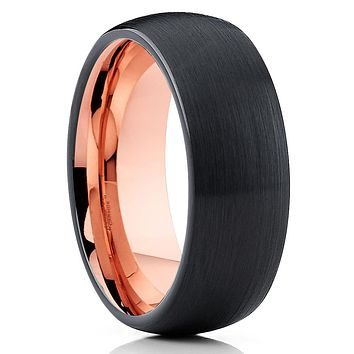 Rose Gold Tungsten Ring - Dome Tungsten Ring - Black Tungsten Ring