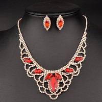 Rhinestone Cut Out Necklace and Earrings