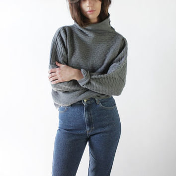 Vintage 80s Gray Textured Oversized Batwing Sweater | M/L