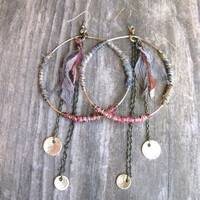 Big Hoop Earrings Hippie Bohemian Earrings by DeerGirlDesigns