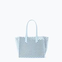 Sky Blue Perforated Mini Shopper - $41
