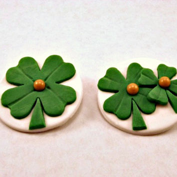 St. Patricks Day Lucky Cupcake, Cake, Cookie Fondant Toppers. Set of 12 (one dozen) 6 of each pattern.