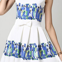 White Blue Floral Sleeveless Bow A-Line Mini Skater Dress
