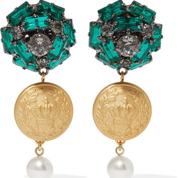 Dolce & Gabbana - Gold-tone, crystal and faux pearl clip earrings