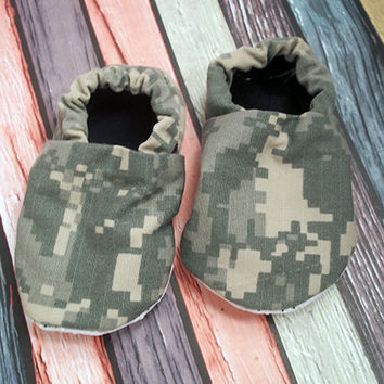 Army ACU Baby & Toddler soft sole shoes, picture props, crib shoes, non slip soles, boy, girl, Baby shower, baby fashion, MilSo, Upcycled