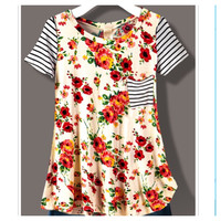 Flowers and Stripes- Ivory