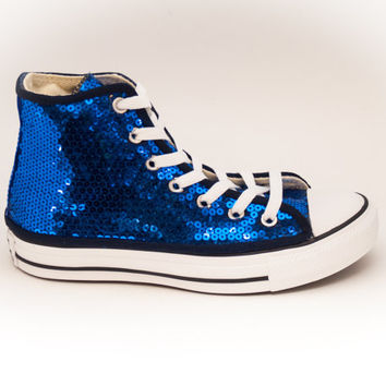 Sequin Sapphire Blue Custom Canvas Hi Top Sneakers Tennis Shoes