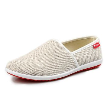 New Breathable Men Hemp Summer Style Flat Shoes Fashion Loafers