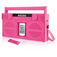 iHome iP4PZ FM 30-Pin iPod/iPhone Speaker Dock Boombox (Pink) (Not Compatible w/ iPhone 5)