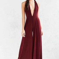 Glamorous Plunging Knit Wide-Leg Jumpsuit