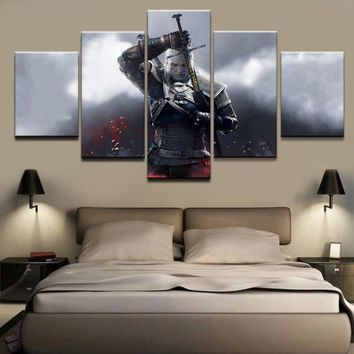 Wall Art Canvas Painting Modular Pictures For Living Room Frame 5 Pieces The Witcher 3 Wild Hunt Geralt of Rivia Decor Poster