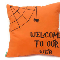 Welcome To Our Web Halloween Pillow,Decorative Pillow,Spider Web Pillow,Fall Throw Pillow,Halloween Decoration,Spider Pillow,Halloween Decor